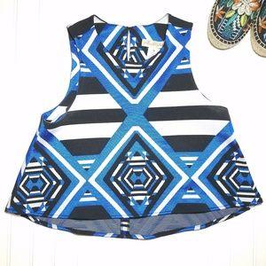Mara Hoffman Cropped Top Blue Black Sz S